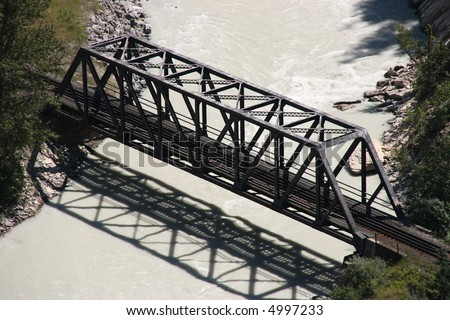 Bridge on Kicking Horse River - Canadian Pacific Railway - stock photo