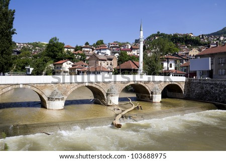 Bridge on Miljacka river in Sarajevo the capital city of Bosnia and Herzegovina - stock photo