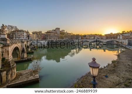 bridge on tevere river in rome near vatican - stock photo