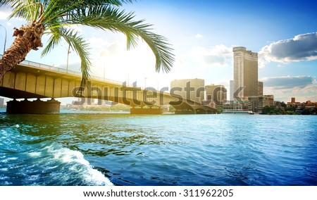 Bridge on the Nile dividing Cairo and Giza - stock photo