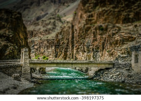 Bridge on the remote mountain road in Karakorum, Pakistan