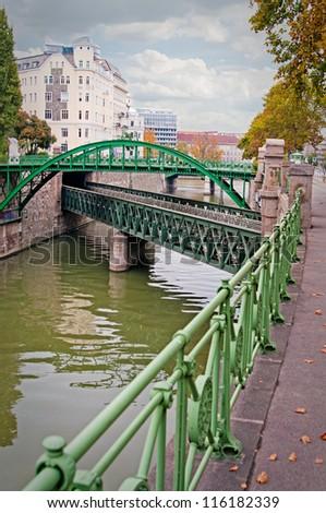 Bridge on the River in Vienna - stock photo