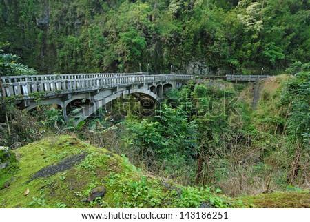 Bridge on the Road to Hana, Maui, Hawaii, USA - stock photo
