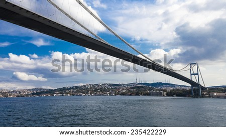 Bridge on the strait of Bosphorus - stock photo