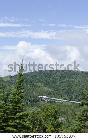 Bridge on Trans-Canada Highway near Superior Lake - stock photo