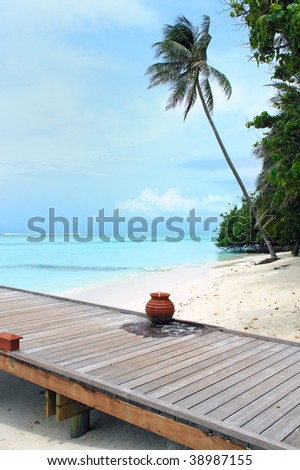 bridge on tropical island with palm tree - stock photo