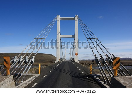 Bridge over a river in Iceland, Highway 1 - stock photo