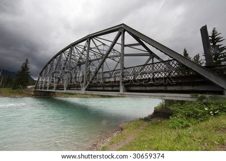 Bridge over Bow River - stock photo