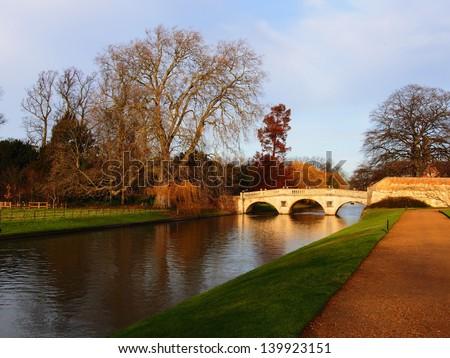 Bridge over Cambridge river, Cambridge University - stock photo