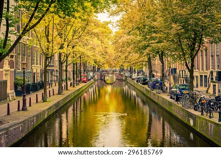 Bridge over canal in Amsterdam - stock photo