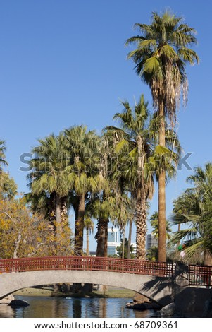 Bridge over canal in Encanto park, Phoenix downtown, Arizona
