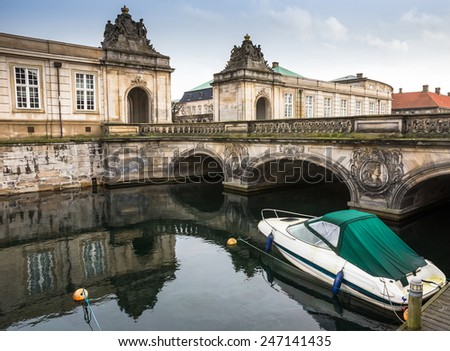 Bridge over canal to Christiansborg Palace in Copenhagen, Denmark - stock photo
