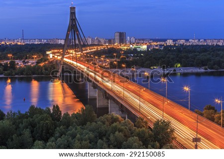 Bridge over Dnipro river in Kyiv, Ukraine - stock photo
