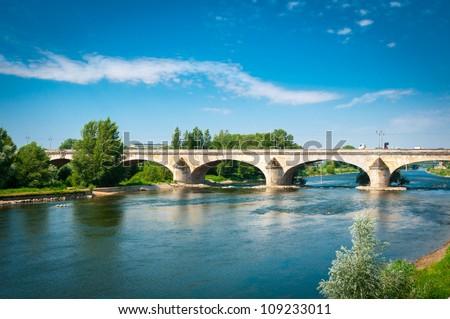 Bridge over Loire river, Orleans, Loire Valley, France - stock photo