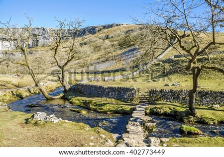 Bridge over Malham Beck  - stock photo