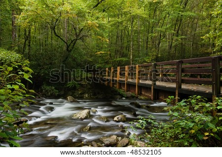 Bridge over mountain stream in Great Smoky Mountains national park - stock photo