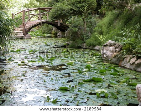 Bridge over pond with water lillies in a garden - stock photo
