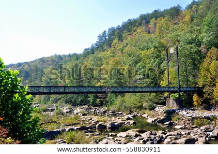 Bridge over river in Great Smoky Mountains National Park, USA
