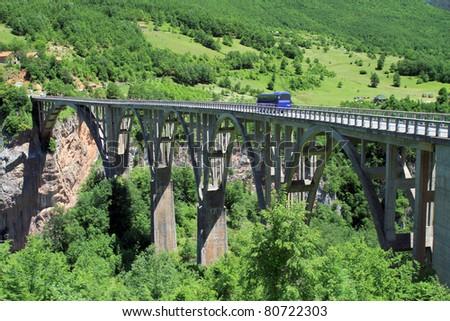 Bridge over Tara river - stock photo