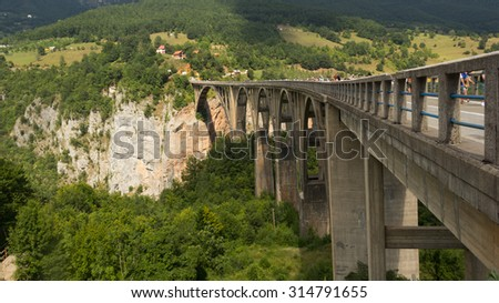 Bridge over Tara river in Montenegro - stock photo