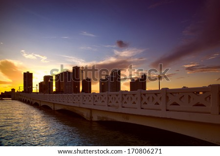 Bridge over the Atlantic ocean, Venetian Causeway, Venetian Islands, Biscayne Bay, Miami, Florida, USA - stock photo