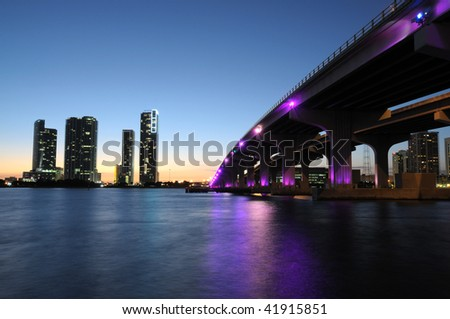 Bridge over the Biscayne Bay at night, Miami Florida, USA - stock photo