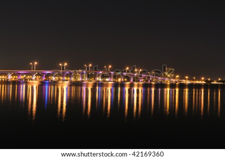 Bridge over the Biscayne Bay in Miami, Florida USA - stock photo
