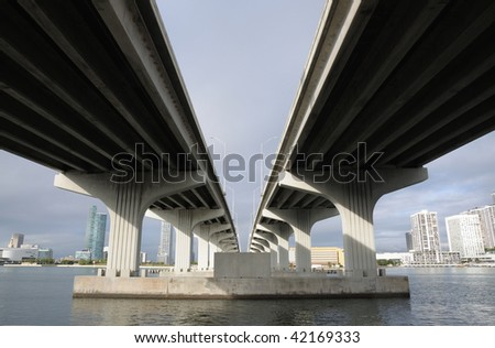 Bridge over the Biscayne Bay, Miami Downtown, Florida USA - stock photo