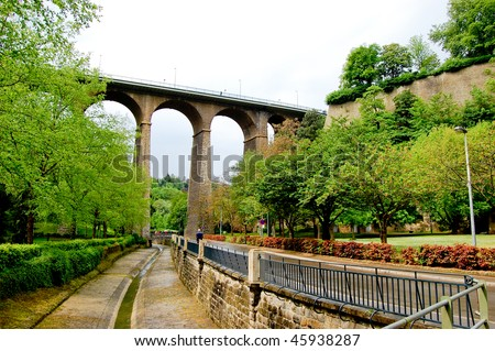 Bridge over the canyon in Luxembourg - stock photo
