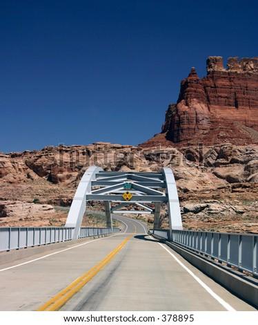 Bridge over the Colorado River at Lake Powell, Utah - stock photo