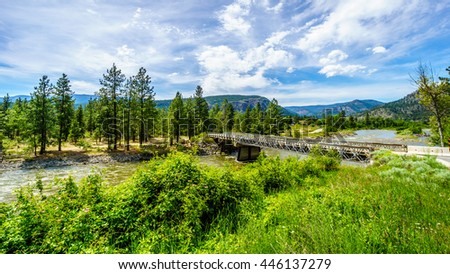 Bridge over the NIcola River as it flows from the town of Merritt to the Fraser River at the town of Spences Bridge in British Columbia, Canada