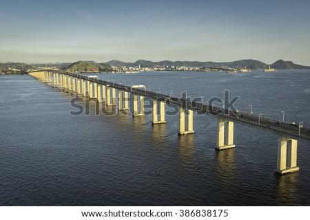 Bridge over the ocean connecting Rio de Janeiro and Niteroi, Brazil - stock photo