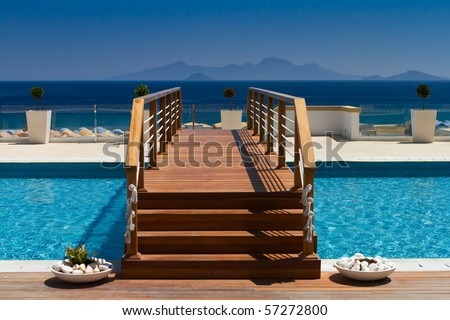 bridge over the pool - stock photo