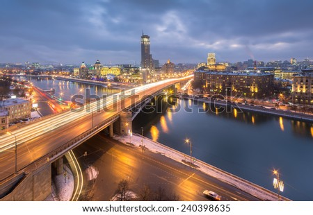 Bridge over the river, Lower Krasnoselskaya street, in Moscow at night   - stock photo