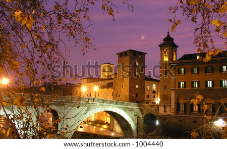 Bridge over Tiber River, Rome, Italy - stock photo