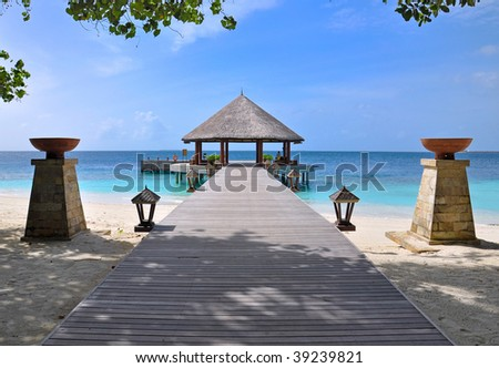 bridge over tropical ocean - stock photo