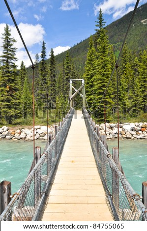 Bridge over Vermilion river at Kootenay National Park, Canada - stock photo