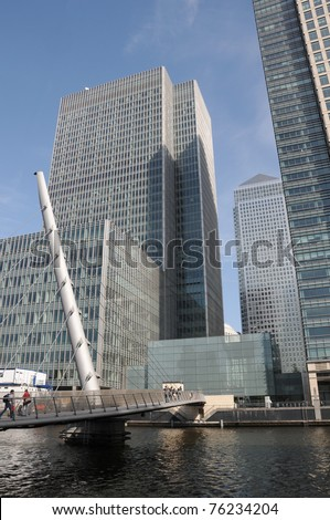 Bridge over West India Docks in Londons Docklands - stock photo