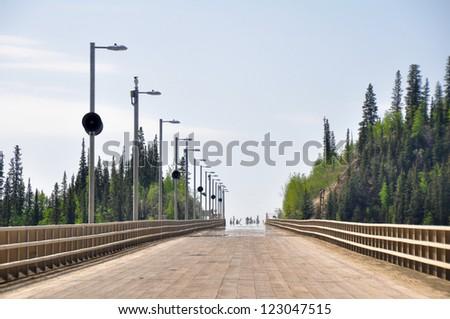 Bridge over Yukon river, Dalton Highway, Alaska - stock photo