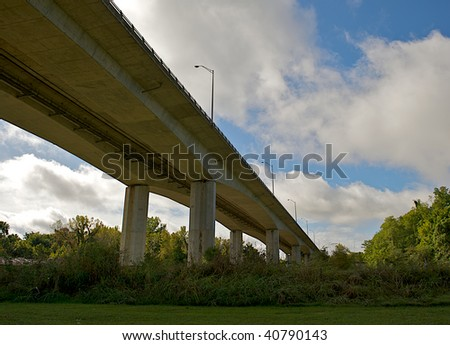 Bridge overpass as seen from below. - stock photo