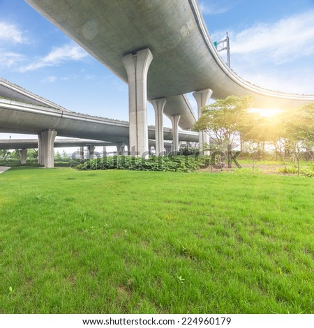 bridge overpass of shanghai china. - stock photo