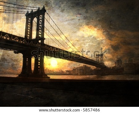 Bridge painting - stock photo