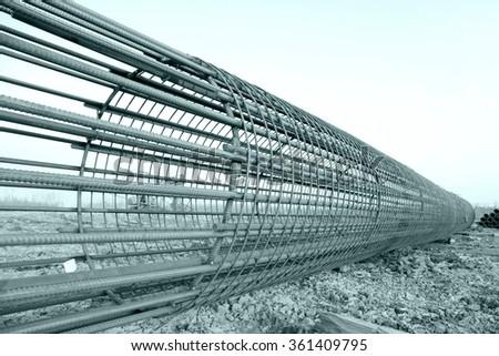 Bridge pile reinforcement structure - stock photo