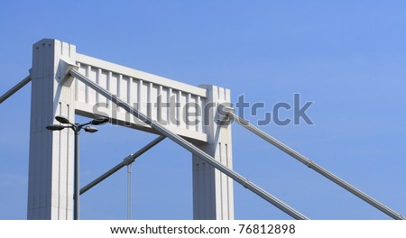 bridge pillar with natural blue sky - stock photo