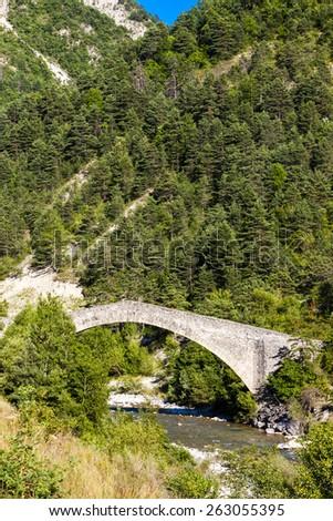 bridge Pont de la Reine Jeanne, Provence, France - stock photo