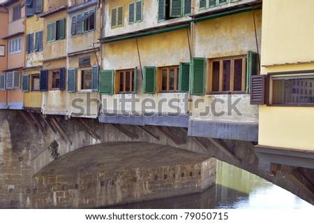 Bridge Ponte Vecchio over Arno river, Florence, Italy - stock photo