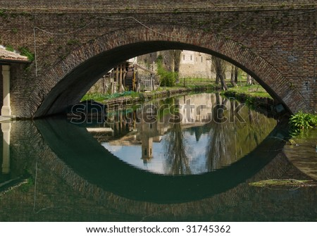 Bridge reflection like a giant eye - stock photo