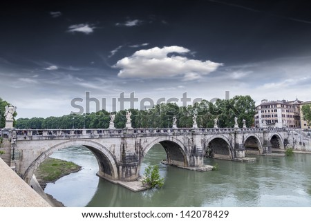 Bridge Sant'Angelo with beautiful sky in Rome.