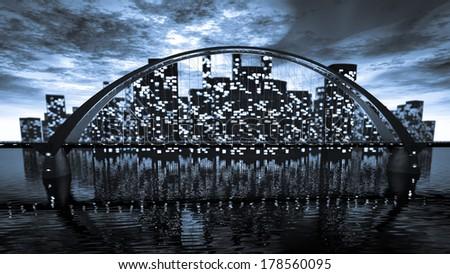 Bridge skyline near night city - stock photo