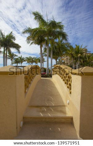 Bridge to a tropical vacation - stock photo
